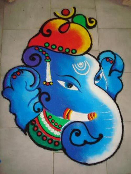 Ganesh face rangoli in blue