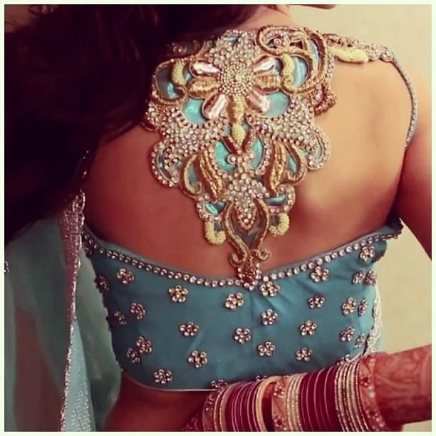 Gem embellished blouse back design