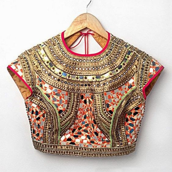 Gorgeous designer blouse with mirrorwork