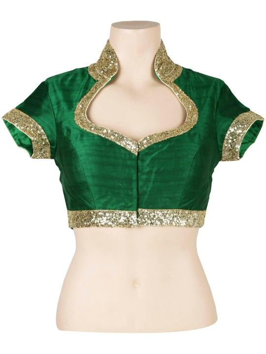 Green silk designer blouse with sequin borders and collar