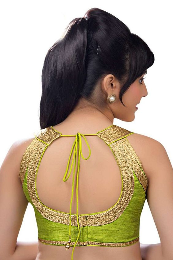Halter neck blouse back design with Zari