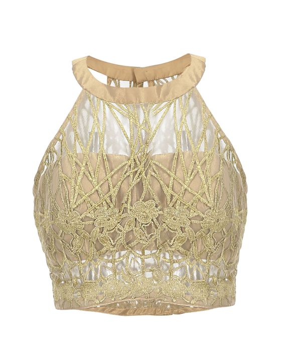 Halter neck blouse with golden zari and net