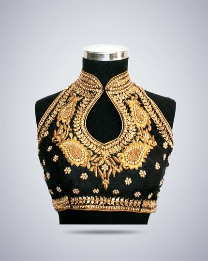 Halter neck embellished blouse design