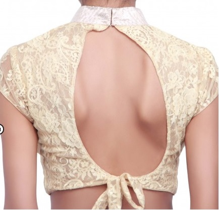 High neck blouse back design with waist strap knot