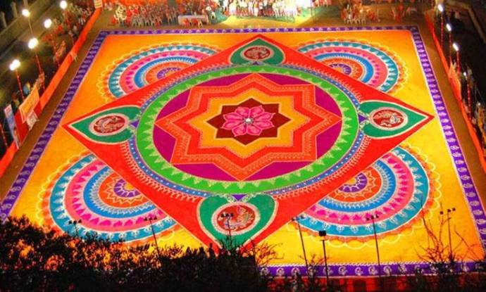 Huge rangoli intricately designed