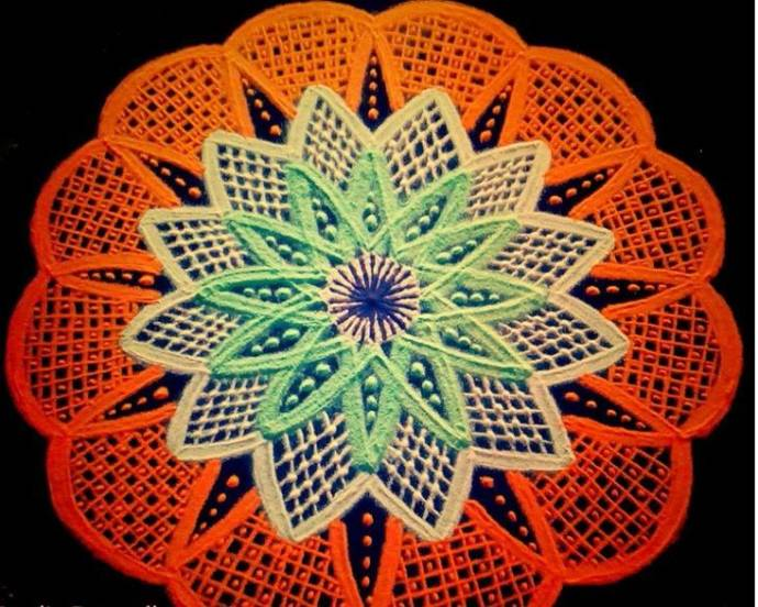 Intricacies in a rangoli pattern with floral base