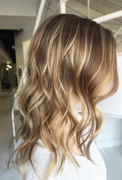 Light brunette hair with balayage highlight