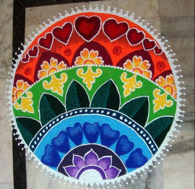 Lovely rangoli pattern with different shades