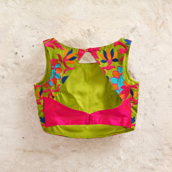 Low back blouse design in two colors