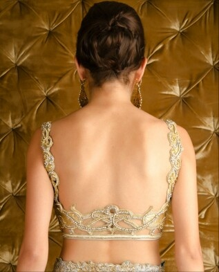 Low blouse back design with cutwork