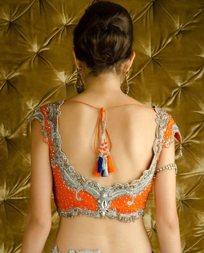 Low blouse back design with jeweled borders