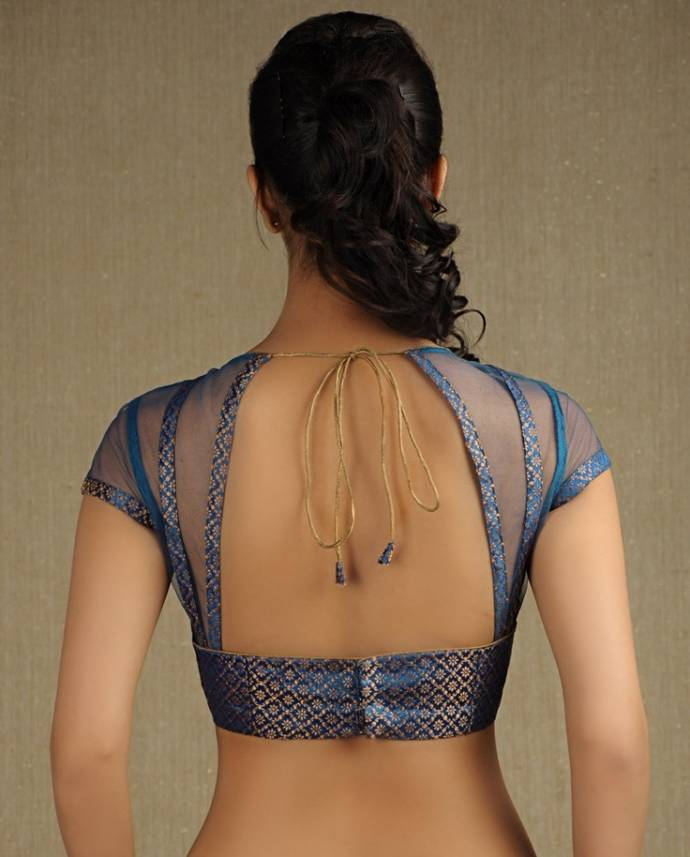 Low blouse back design with net made sides