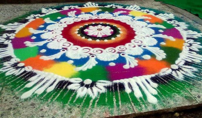 Numerous colors merged for a big rangoli