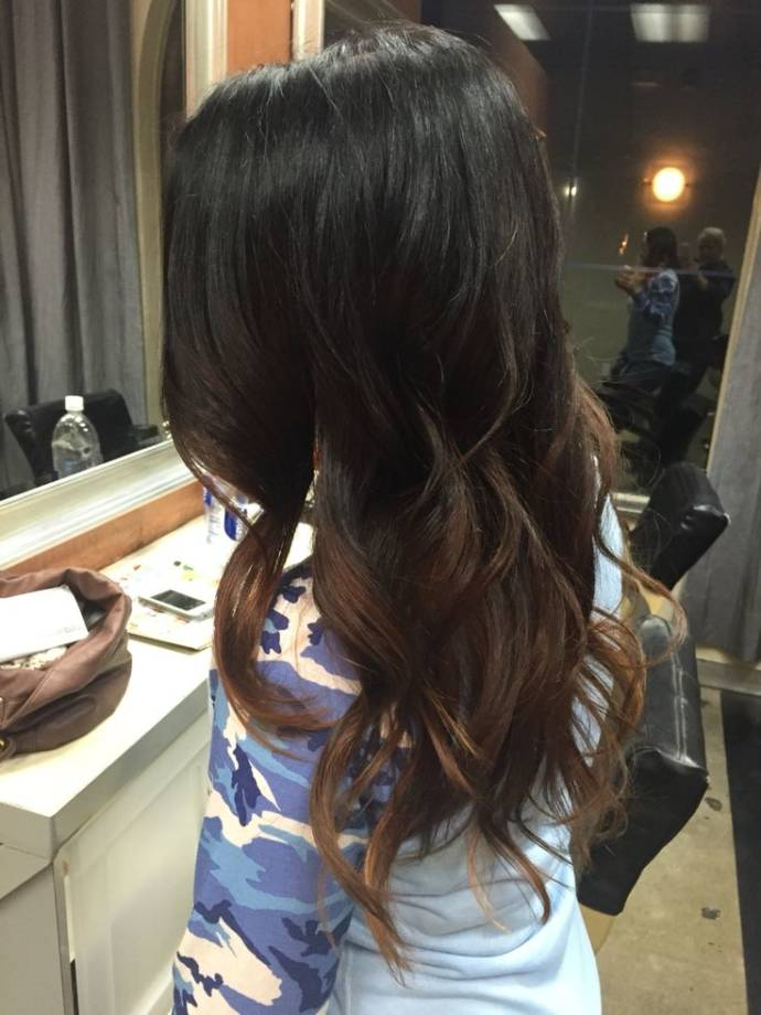 Ombre balayage highlights on black hair