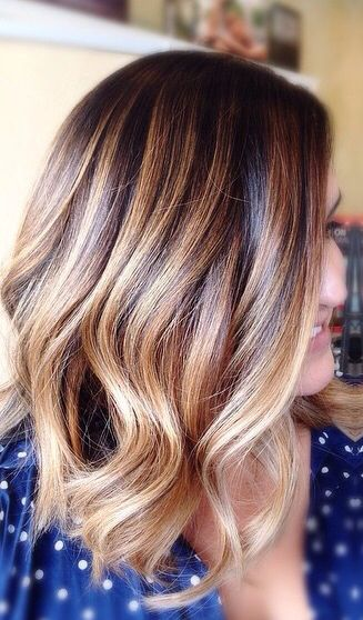 Ombre balayage streaks on black hairs