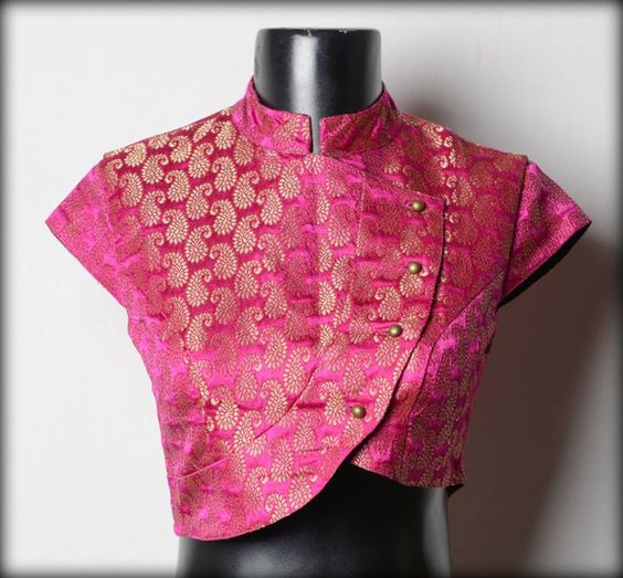 Pink lapel pattern designer blouse with high neck