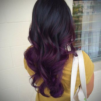 Purple balyage on black hairs