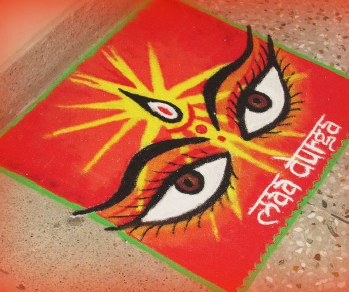 Rangoli Design With Eyes Of The Goddess