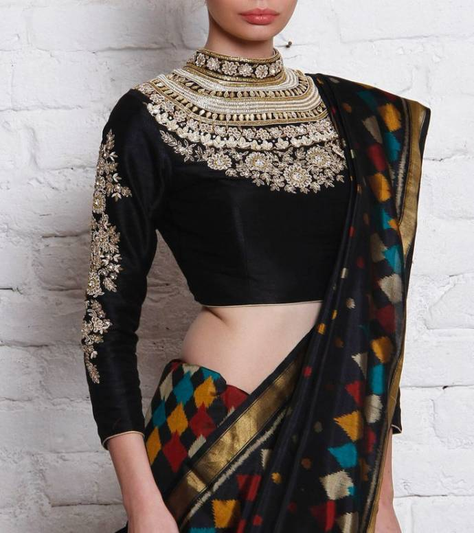 Richly embellished three quarter sleeve blouse design in black