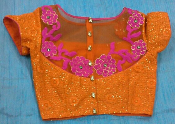 Sequin and thread work blouse with boat neck