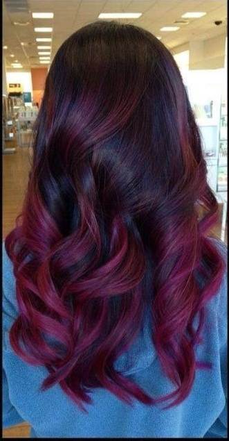 Shinny dark hair with plum highlights