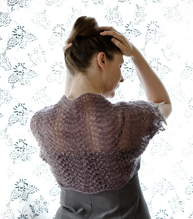 Shrug with lacy pattern