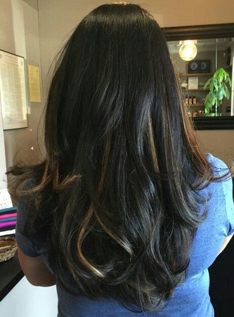 Subtle Ombre Balayage on black hairs