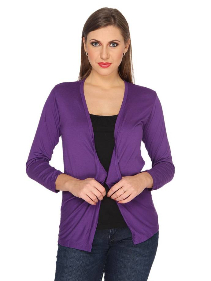 Ten on Ten Women's Purple Shrug with Pockets