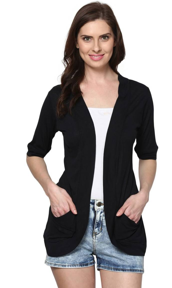 Trend 18 Women's Black Pocket Long Shrug