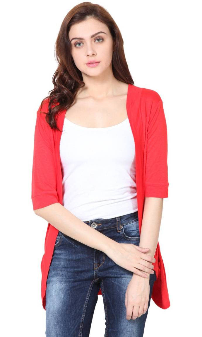 Trend 18 Women's Red Pocket Long Shrug