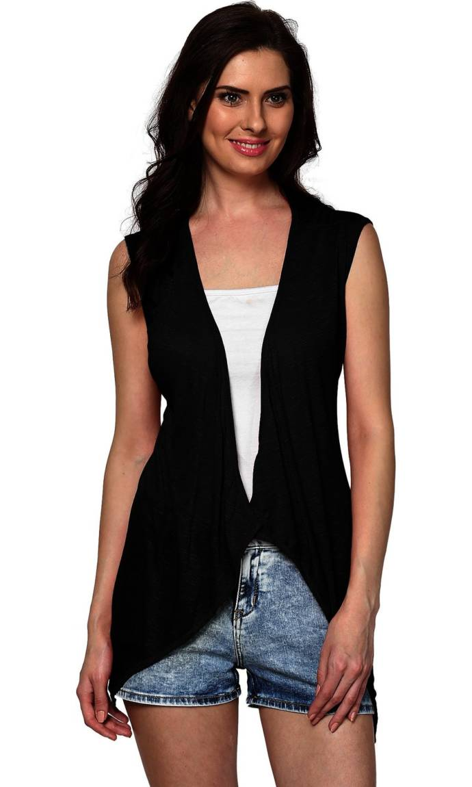 Trend18 Women's Viscose Black Sleeveless Waterfall Shrug
