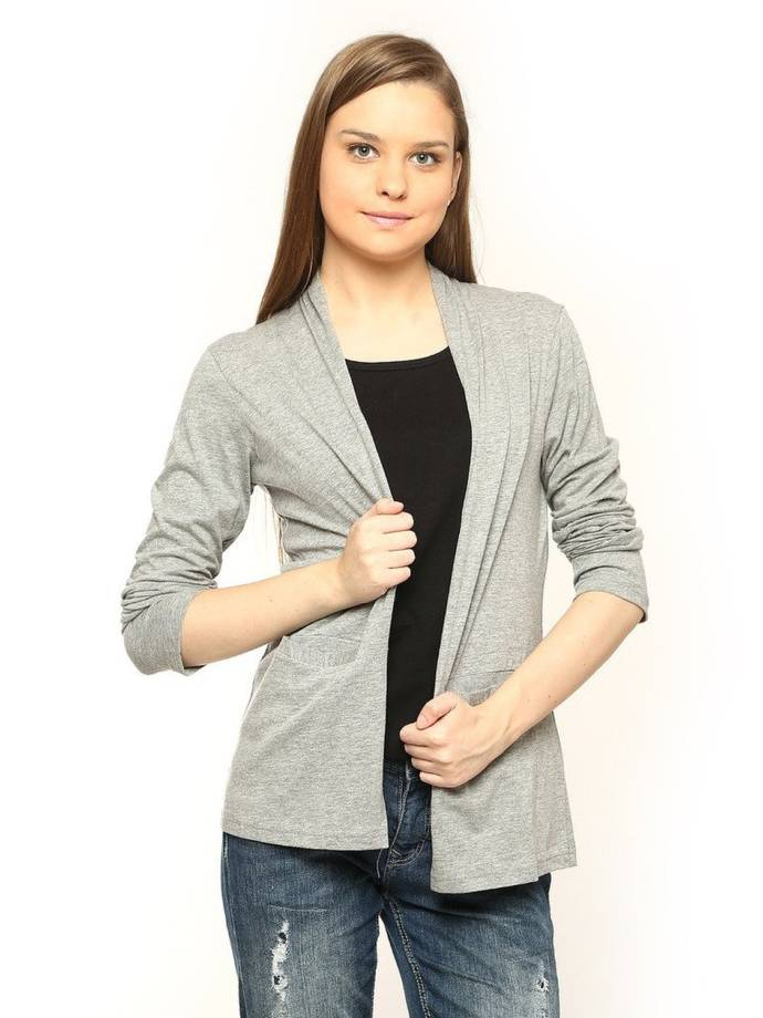 VVOGUISH Cotton Grey Melange Front Pocket Shrug