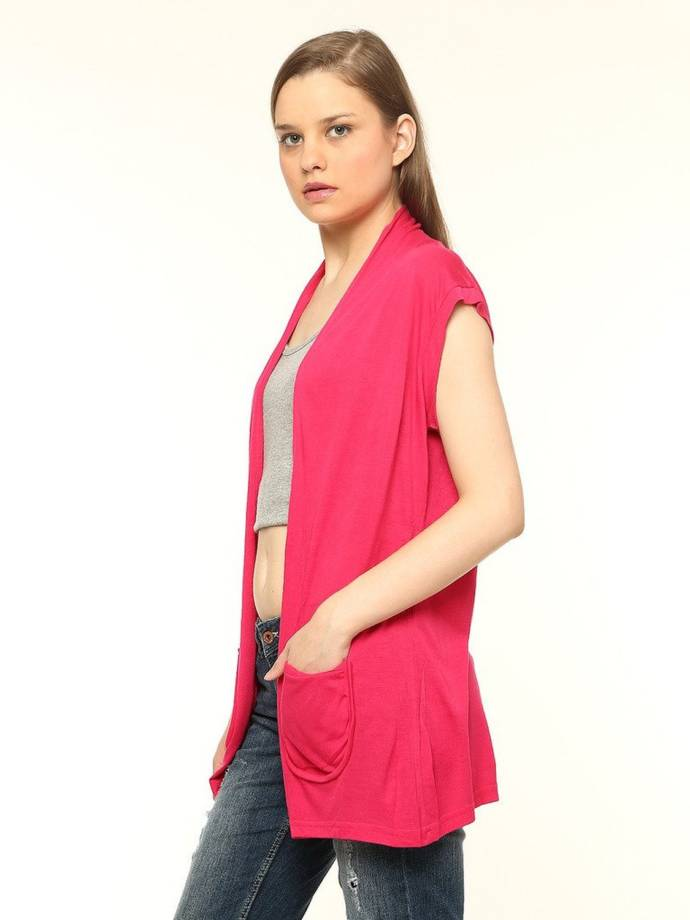 VVOGUISH Viscose Pink SL Shrug With Pockets