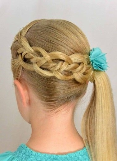Waterfall braid with side pony