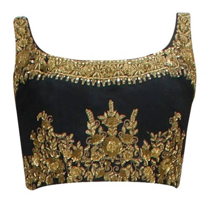 Zari embellished based blouse design