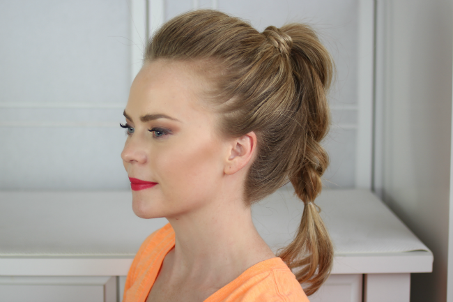 Back-brushed braids with ponytail