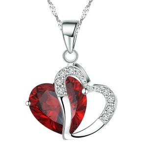 Crystal pendant with red heart