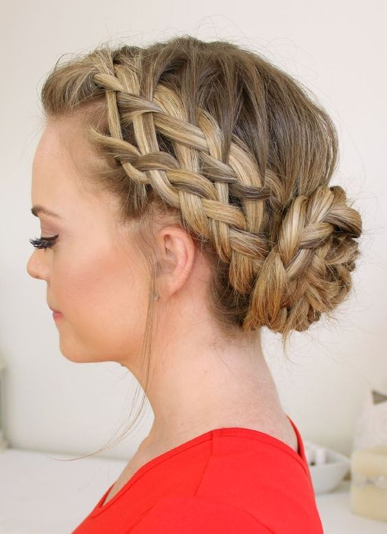 Double side-braid and bun
