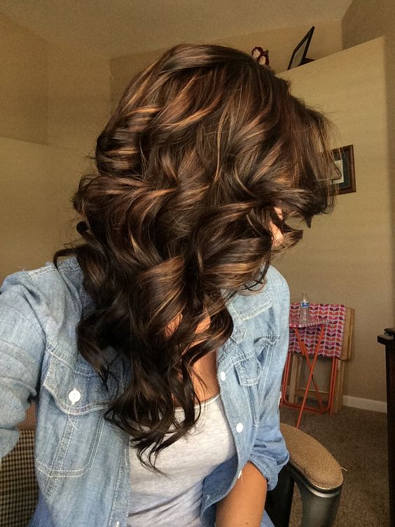 Layered brown hair with golden highlights