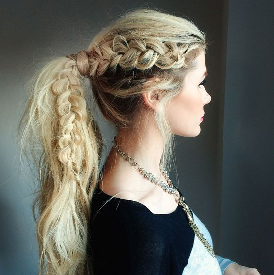 Messy hair ponytail with braid