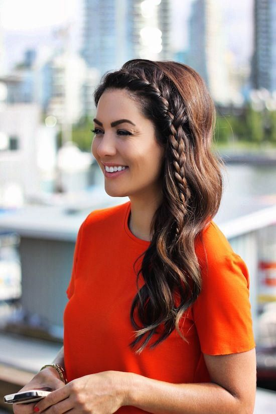 Side braid with side-swept hair