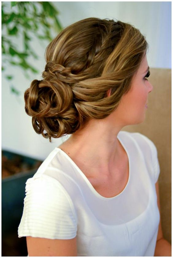 Side swept braid with bun
