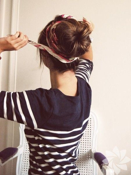 Bandana Wrap High Bun Hairstyle