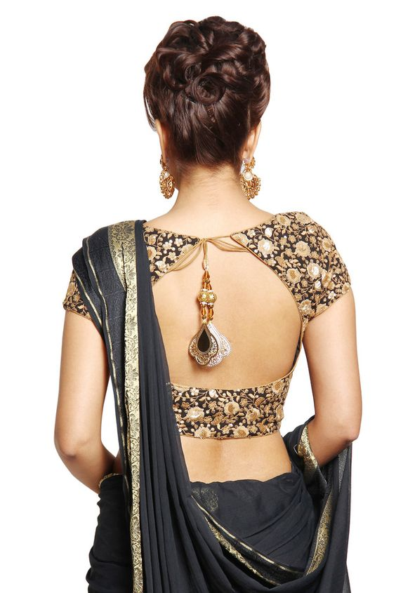 Black Embroidery with Jewel Pendant hanging Back Blouse Design