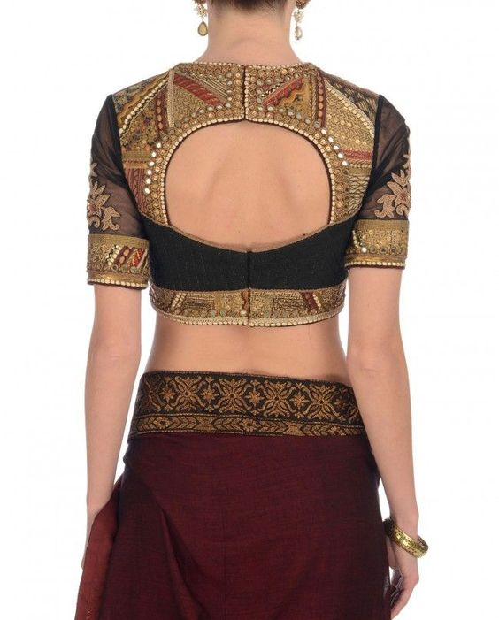 Black and gold luxe patch work blouse