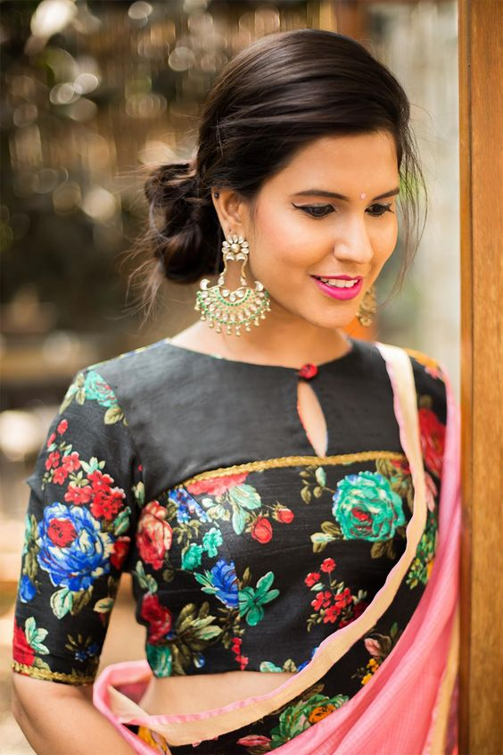 Black floral blouse design