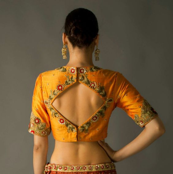Mustard with embroidered and diamond cut blouse design