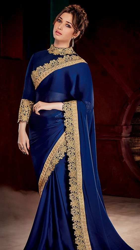 Royal blue embroidered blouse design