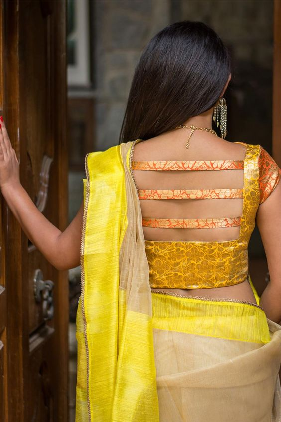 Summer sunshine mustard stylish back blouse design