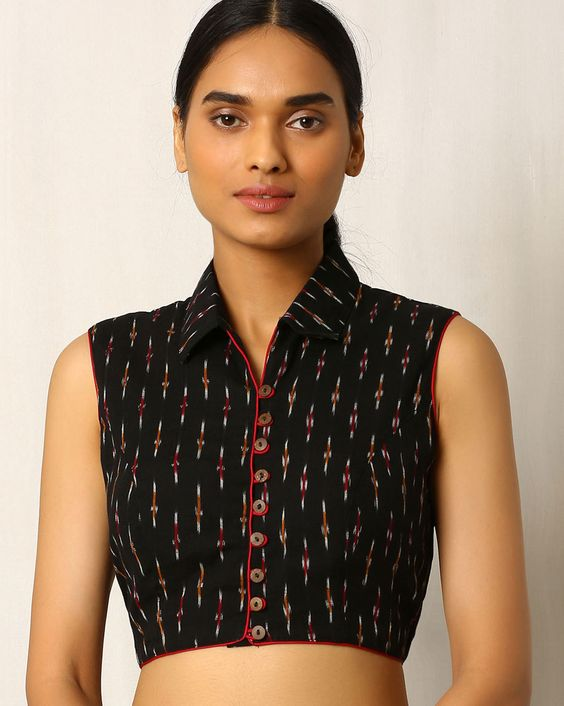 Black ikat handwoven blouse